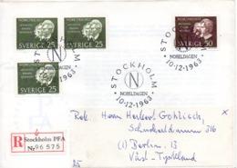 SUEDE. N°512-3 Sur Enveloppe 1er Jour De 1964 Ayant Circulé. Prix Nobel 1903/Becquerel/Curie/Finsen. - Premio Nobel