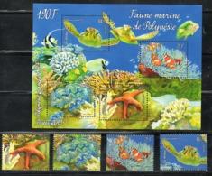 FR.POLYNESIA., 2013, FISHES, TURTLE,4v.+S/S, MNH** - Pesci