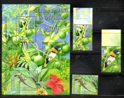 FR.POLYNESIA., 2013, BIRD, LIZARD, FLOWERS,3v.+S/S, MNH** - Uccelli