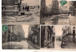Paris Inondations 1 Lot De 4 Cartes 5euros - Inondations De 1910