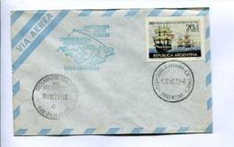 1972 INAGURACION VUELOS REGULARES: ISLAS MALVINAS - COMODORO RIVADAVIA, PUERTO STANLEY. ARGENTINA. ENVELOPE -LILHU - Polar Flights