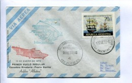 1972 INAGURACION VUELOS REGULARES: ISLAS MALVINAS - COMODORO RIVADAVIA, PUERTO STANLEY. ARGENTINA. ENVELOPE -LILHU - Voli Polari