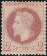 France  .   Yvert   .     26       .     (*)          .       Pas De Gomme  .   /   .    No Gum - 1863-1870 Napoléon III Lauré