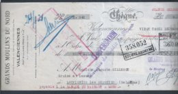 Check From Mons Credit Bank, Belgium 1930. Large Northern Windmills. Chèque Mons Credit Bank. Grands Moulins à Vent Nord - Cheques & Traverler's Cheques