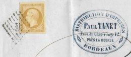 1854 - CACHET COMMERCIAL - 10c EMPIRE TARIF SPECIAL LETTRE IMPRIME De BORDEAUX => POITIERS - Storia Postale