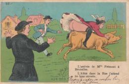CPA Grivoise Pin-up  Sexy Sur Un Cochon Porc Pig Fesses à L'air Cul Nu Curé  Abbé Humour Illustrateur (2 Scans) - Illustrateurs & Photographes