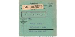 Allemagne  - Colis Postal  Départ Hann . Münden  -- 03/2/1943 - Allemagne