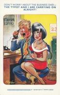 CPA Anglaise Grivoise Pin-up  Sexy Secrétaire Sur Les Genoux Du Patron Humour Illustrateur TAYLOR (2 Scans) - Taylor