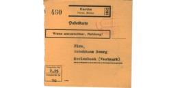 Allemagne  - Colis Postal  Départ Hartha  -- 06/2/1943 - Allemagne