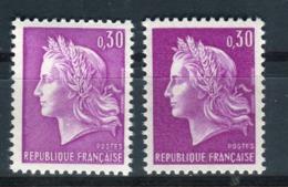 Variété N° Yvert 1536, 1 Lilas Très Clair + 1 Foncé , Neufs Luxe - Prix Fixe - Réf V 754 - Abarten: 1960-69 Ungebraucht