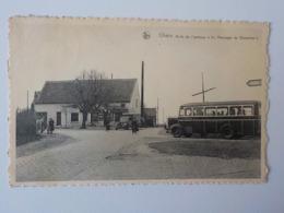 """1920 ? CP Animée Noir/blanc Ohain Arrêt Autobus """" Au Messager De Bruxelles"""" - Lasne"""