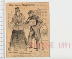 Humour De 1899 Mendiant Aveugle Mendicité 223CHV11 - Vieux Papiers