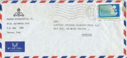 Iran Air Mail Cover Sent To Denmark Single Franked - Iran