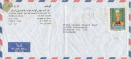 Iran Air Mail Cover Sent To Germany Single Franked (the Cover Is Bended) - Iran