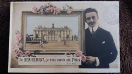 CPA DE REMIREMONT VOSGES JE VOUS ENVOIE CES FLEURS CADRE HOMME E A PARIS 1906 - Remiremont
