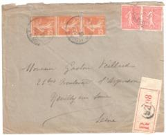 PARIS 52 Lettre Recommandée 50c Semeuse Lignée 25c Semeuse Camée Ob 1930 Yv 199 235 - Storia Postale