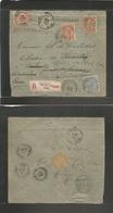 BELGIUM. 1899 (18 June) Bruxelles - Rhisne, Fwarded. Registered Multifkd Envelope. Fine Mixed Town Usages With New Frank - Belgium