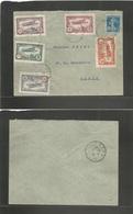 FRANCE - XX. 1922 (5 June) Bourges - Paris (5 June) Comm Air Labels (5 Diff) + Semense, Tied On Envelope Usage. Fine. - Unclassified