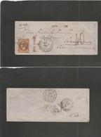 "FRANCE. 1863 (19 Dec) Paris - Switzerland, Schaffhouse (20 Dec) Fkd Env At 40c Rate, Insuff + Taxed Cachet. Star ""28"" Ca - France"