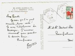 AUXERRE AIR Yonne Ob Hexagone Plein 29 7 1965 (carte Partiellement Coupée) Recette Auxiliaire Lautier E8 - Marcophilie (Lettres)