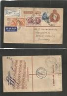 AUSTRALIA. 1951 (7 Dec) Prahran, Vic - Germany, Berlin (14 Dec) Registered Air Multifkd 10 1/2 Brown Stat Env. VF. - Australia