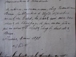 FERBLANTIER BRUN D UZES PROCURATION 1878 CACHET NEUCHATEL - Documenti Storici