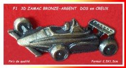 SUPER PIN'S F1 : ZAMAC BRONZE ARGENT 3D, Verso En Creuc, Clou Serti, Format 2,5X1,5cm Super Visuel - F1