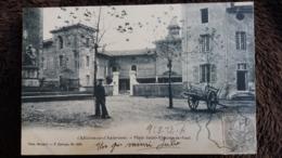 CPA CHATILLON SUR CHALARONNE AIN PLACE SAINT VINCENT DE PAUL HOMME CHARRETTE PHOT BERNARD F CARRAGE - Châtillon-sur-Chalaronne