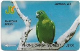 Jamaica - C&W - Amazona Agilis Parrot - 1JAME - 100J$, 1990, Used - Jamaïque