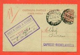 INTERI POSTALI - C 37/16 - DA  CITTA' DI CASTELLO PER CAPRESE MICHELANGELO - 1900-44 Vittorio Emanuele III