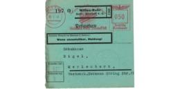 Allemagne  - Colis Postal  Départ Witten -Ruhr  -- 28/1/43 - Allemagne