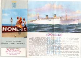 Paquebot Homeric 1960 - Dépliant - 18 X 8,5 Cm - Home Lines - Bateaux