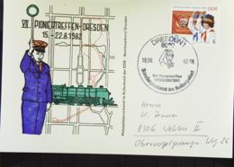 """DDR: Postkarte Mit 10+5 Pf """"VII. Pioniertreffen In Dresden"""" SoSt. Vom Sonderpostamt Im Kulturpalast 18.8.82 Knr: 2724 - [6] República Democrática"""