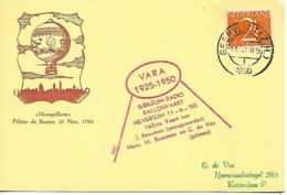 NETHERLANDS 1950 PC BALOON POSTED 1 STAMP COVER USED - Covers & Documents