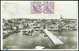 Sweden Real Photo Postcard Västervik Posted 1949 To Timisoara Romania - Schweden