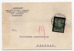 1935 YUGOSLAVIA, CROATIA, DUBROVNIK TO BELGRADE, CORRESPONDENCE CARD, BLACK FRAME, JADRAN - 1931-1941 Königreich Jugoslawien