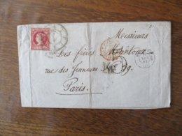 CACHET ROUGE ST JEAN DE LUZ 29 NOV 60 CACHETS MADRID 25 NOV 60 PARIS 29 NOV 60  TIMBRE 12.CUARTOS - 1850-68 Kingdom: Isabella II