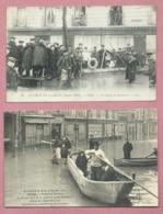 2 CPA- La Crue De La Seine 30 Janvier 1910- Clichy -Une équipes De Sauveteurs - Ecole Du Génie D'Avignon, Ravitaillement - Clichy