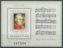 Ungarn 1991 Tag Der Briefmarke: Mozart Block 216 A Postfrisch (C92673) - Blocks & Sheetlets