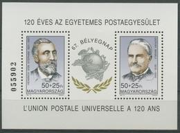 Ungarn 1994 Tag Der Briefmarke Weltpostverein UPU Block 231 Postfrisch (C92683) - Blocks & Sheetlets