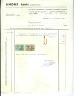 Facture Timbrée Louis André, électricien, Saint-Gilles, Bruxelles, 1966 - Électricité & Gaz