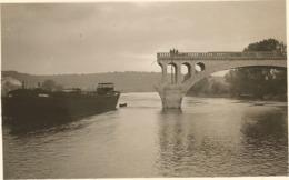 WW2 PHOTO ORIGINALE Pont Ko + Bateau à COURCELLES SUR SEINE Près Gaillon Aubevoye Les Andelys EURE 27 Entre Vernon Rouen - 1939-45