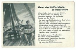 """Liedkarte """"Wenn Das Schifferklavier An Bord Ertönt"""" Um 1940 - War 1939-45"""
