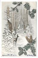 Biche Et Paysage Neigeux - Illustrateur MM VIENNE - Vienne