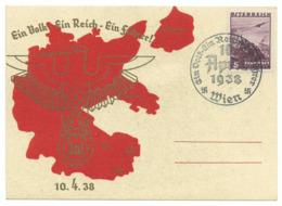 """""""Ein Volk - Ein Reich - Ein Führer"""" Anschluss Österreichs Sonderstempel Wien 1938 - Guerra 1939-45"""