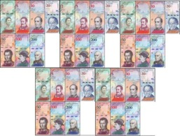 Venezuela - 5 Pcs X Set 7 Banknotes 2 5 10 20 50 100 200 Bolivares 2018 UNC - Venezuela