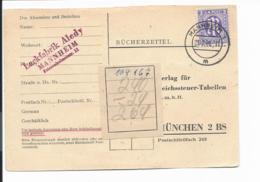 AM - Post 1  EF 3 Pf.  Bücherzettel Von Mannheim Nach München Verw. - Zona Anglo-Americana