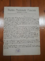 1923 FASCISMO - LETTERA PARTITO NAZIONALE FASCISTA - DOLO - Documentos Históricos