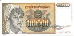 YOUGOSLAVIE 100000 DINARA 1993 UNC P 118 - Yougoslavie