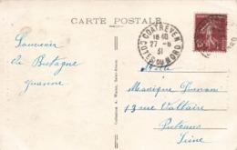Marcophilie Cachet Tireté Coatreven Cotes Du Nord 1931 Sur Cpa Tour Saint Michel Près Treguier - 1921-1960: Periodo Moderno